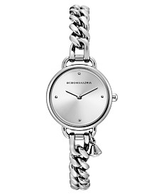 BCBGMAXAZRIA Ladies Round Stainless Steel Chain Bracelet with Crystal Charm Watch, 26mm