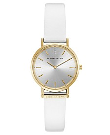 Ladies Round White Genuine Leather Strap Watch, 30mm
