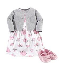 Dress, Cardigan, Shoe Set, 3 Piece, 0-18 Months