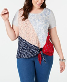 Style & Co Plus Size Patchwork Tie-Hem Top, Created for Macy's