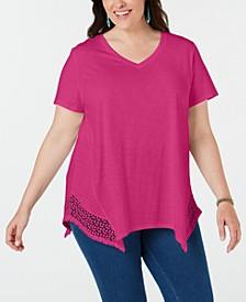 Plus Size Crochet Handkerchief-Hem Top, Created for Macy's