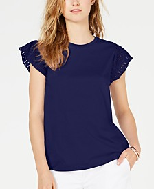 MICHAEL Michael Kors Cotton Lace-Sleeve T-Shirt
