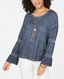 Style & Co Petite Tiered-Sleeve Peasant Top, Created for Macy's