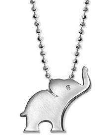 """Diamond Accent Elephant 16"""" Pendant Necklace in Sterling Silver"""