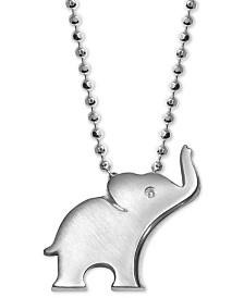 "Alex Woo Diamond Accent Elephant 16"" Pendant Necklace in Sterling Silver"