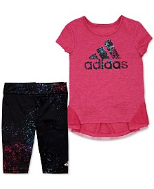 adidas Toddler Girls 2-Pc. Leap Logo Top & Printed Capri Tights Set