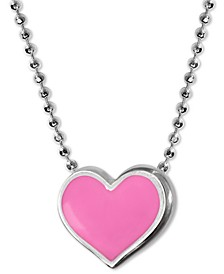 "Enamel Heart 16"" Pendant Necklace in Sterling Silver"
