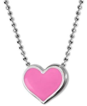 """Enamel Heart 16"""" Pendant Necklace in Sterling Silver"""