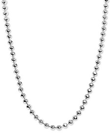 "Beaded 18"" Chain Necklace in Sterling Silver"