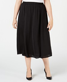Alfani Plus Size Washed-Satin A-Line Skirt, Created for Macy's