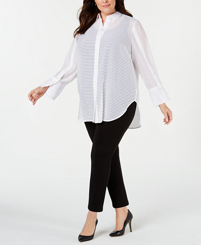 Alfani Plus Size Textured Button-Up Shirt, Created for Macy's