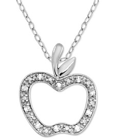 "Diamond Apple 18"" Pendant Necklace (1/10 ct. t.w.) in Sterling Silver"