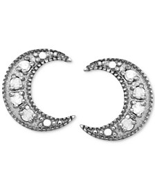 Diamond Crescent Moon Stud Earrings (1/10 ct. t.w.) in Sterling Silver