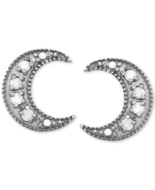 Macy's Diamond Crescent Moon Stud Earrings (1/10 ct. t.w.) in Sterling Silver