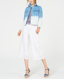 MICHAEL Michael Kors Ombré Denim Jacket, Wide-Leg Pants & Ikat Top