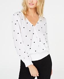 I.N.C. Polka-Dot Smocked Surplice Top, Created for Macy's