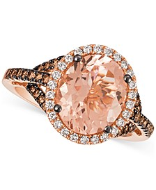 Peach Morganite™ (2-3/8 ct. t.w.), Vanilla Diamonds® (1/5 ct. t.w.) & Chocolate Diamonds® (3/8 ct. t.w.) Ring in 14k Rose Gold
