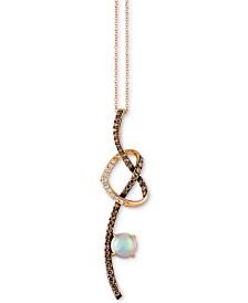 Le Vian® Neopolitan Opal™ (5/8 ct. t.w.), Vanilla Diamonds® (1/10 ct. t.w.) & Chocolate Diamonds® (1/2 ct. t.w.) Pendant Necklace in 14k Rose Gold