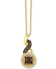 "Le Vian Chocolatier® Chocolate Diamond®  (1/4 ct. t.w.) & Vanilla Diamond® Accent 18"" Pendant Necklace in 14k Gold"