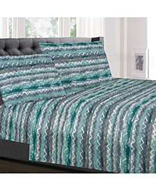 Printed Cal King 4-Pc Sheet Set
