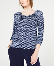 MICHAEL Michael Kors Printed Peasant Top, Regular & Petite