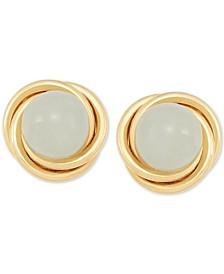 Jade (6mm) Button Knot Stud Earrings in 10k Gold
