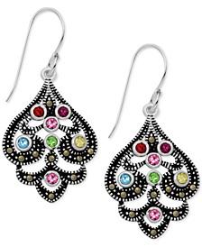 Marcasite & Crystal Openwork Drop Earrings in Fine Silver-Plate