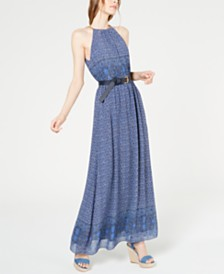 MICHAEL Michael Kors Belted Printed Maxi Dress