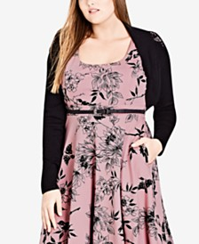City Chic Plus-Size Lace-Contrast Shrug