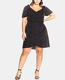 City Chic Trendy Plus Size Printed Faux-Wrap Dress