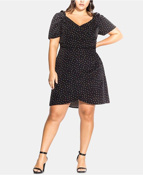 City Chic Trendy Plus Size Printed Faux-Wrap Dress