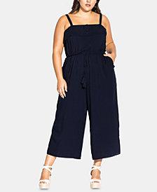 City Chic Trendy Plus Size Cute Button Jumpsuit