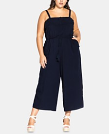 City Chic Trendy Plus Size Cute Button Jumpsuit