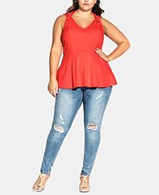 Trendy Plus Size Strappy Halter Top