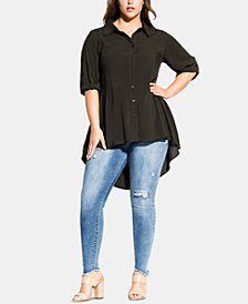 City Chic Trendy Plus Size Fierce Longline Shirt
