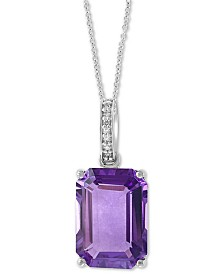 "EFFY® Amethyst (6-1/5 ct. t.w.) & Diamond Accent 18"" Pendant Necklace in 14k White Gold"