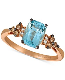 Le Vian® Sea Blue Aquamarine® (1-1/6 ct. t.w.) & Diamond (1/6 ct. t.w.) Statement Ring in 14k Rose Gold