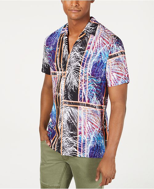 INC International Concepts I.N.C. International Concepts Men's Julius Colorblock Palm Print Short Sleeve Shirt