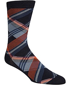 Men's Diagonal Plaid Crew Socks