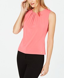 Calvin Klein Petite Pleat-Neck Sleeveless Top