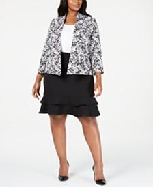 Kasper Plus Size Printed Jacket & Ruffled Skirt