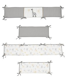 Signature Moonbeams Giraffe and Stars 4-Piece Baby Crib Bumper