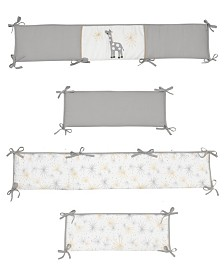 Lambs & Ivy Signature Moonbeams Giraffe and Stars 4-Piece Baby Crib Bumper