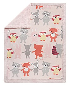 Little Woodland Animals Luxury Minky and Sherpa Baby Blanket