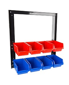 Trademark Global 8 Bin Storage Rack organizer - Wall Mountable Container with Removable Drawers by Stalwart