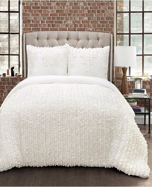 Lush Decor Ruffle Stripe 3Pc Full/Queen Comforter Set