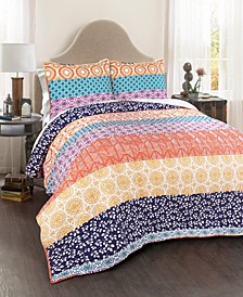 Bohemian Stripe Reversible 3-Piece Quilt Sets
