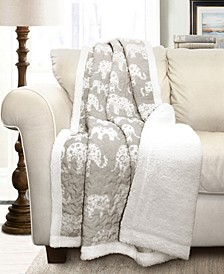 Elephant Print Sherpa Throw