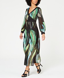 Thalia Sodi Palm-Print Maxi Dress, Created for Macy's