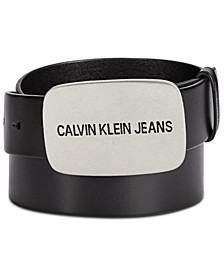 Logo Buckle Leather Belt